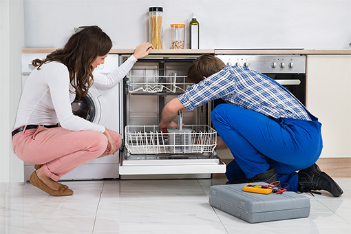 Image of An Appliance Technician Repairing Dishwasher - Dishwasher Repair Markham
